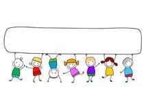 Lyckliga ungar med banret stock illustrationer