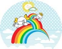 Lyckliga ungar med regnbågen. stock illustrationer