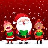 Lyckliga ungar med Santa Claus sjungande julsånger stock illustrationer