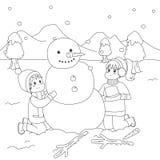 Lyckliga ungar som bygger en snögubbe Färga sidatecknad filmvektorn stock illustrationer