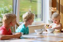 Lyckliga ungar som har den sunda frukosten i köket Royaltyfri Fotografi