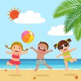 Lyckliga ungar som hoppar på stranden royaltyfri illustrationer
