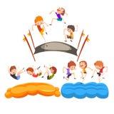 Lyckliga ungar som hoppar på trampolinen, gulliga pojkar som har gyckel på trampolinvektorillustration på en vit bakgrund stock illustrationer