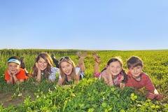 Lyckliga ungar som lägger i fältet Royaltyfri Foto