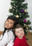 Lyckliga ungar som lägger under julträdet Arkivfoto