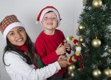 Lyckliga ungar som lägger under julträdet Royaltyfri Bild