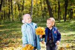 Lyckliga ungar som leker i höstskogsmark Fotografering för Bildbyråer