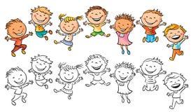 Lyckliga ungar som skrattar och hoppar med glädje stock illustrationer