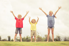 Lyckliga ungar som står på gräset Royaltyfria Bilder