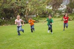 Lyckliga ungar som stöter ihop med gräset royaltyfri bild
