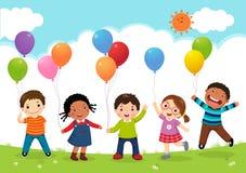 Lyckliga ungar som tillsammans hoppar och rymmer ballonger royaltyfri illustrationer