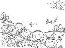 Lyckliga ungar som utomhus kör på en sommardag, bakgrund med ett kopieringsutrymme stock illustrationer