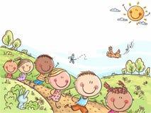 Lyckliga ungar som utomhus kör på en sommardag, färgrik bakgrund med ett kopieringsutrymme stock illustrationer