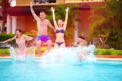Lyckliga upphetsade vänner som tillsammans hoppar i pölen, sommargyckel royaltyfria bilder