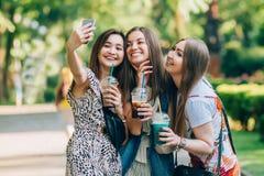 Lyckliga vänner i parkera på en solig dag Sommarlivsstilståenden av tre blandras- kvinnor tycker om den trevliga dagen som rymmer fotografering för bildbyråer