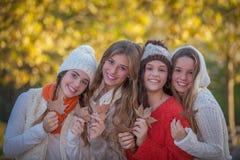 Lyckliga vänner och leenden i höst Royaltyfri Fotografi