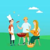 Lyckliga vänner på picknickBbq-partiet Fotografering för Bildbyråer