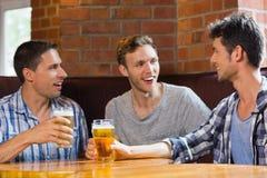 Lyckliga vänner som rostar med halva liter av öl Arkivfoto