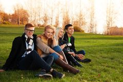 Lyckliga vänner som sitter på grönt gräs Arkivfoto