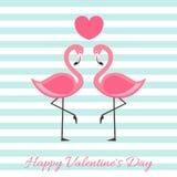 Lyckliga valentin dag med flamingovektorillustrationen Märka den isolerade illustrationen stock illustrationer
