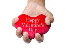 Lyckliga valentin dag på röd hjärta Royaltyfri Fotografi
