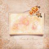 Lyckliga valentin dag. Tappningkort med rosor royaltyfri illustrationer