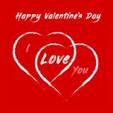 Lyckliga valentin dag - två stora hjärtor och förklaring av förälskelse stock illustrationer