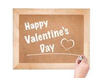 Lyckliga valentin dag uttrycket som är skriftligt på svart tavla Arkivbild