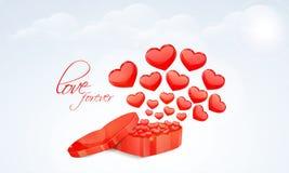 Lyckliga valentin dagberömmar med hjärtor Royaltyfri Bild