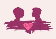 Lyckliga valentindag- och bröllopdesignbeståndsdelar Splittrad hjärta Royaltyfri Bild