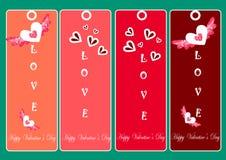 Lyckliga valentindagkort, hjärta, valentindagillustrationer och typografibeståndsdelar Arkivfoto
