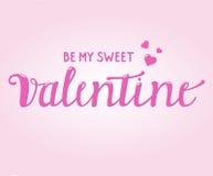 Lyckliga Valentine Card med borsteskrifttext Arkivfoton