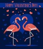 Lyckliga Valentine& x27; kort för s-daghälsning med två förälskade romantiska flamingo Arkivfoto