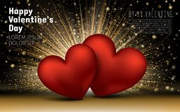 lyckliga valentiner för dag Guld- lyxig elegant hjärtaförälskelse blänker bakgrund Kort för orienteringsmalldesign Fotografering för Bildbyråer