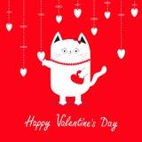 lyckliga valentiner för dag Hängande vita hjärtor för vit katt Plan design royaltyfri illustrationer