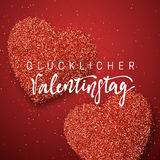 lyckliga valentiner för dag handgjord tysk inskrift för bokstäver Royaltyfria Foton
