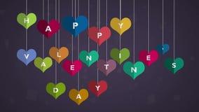 lyckliga valentiner för dag hjärta som hänger på tråden, den videopd animeringen, vinkar grafisk design royaltyfri illustrationer