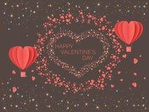 lyckliga valentiner för dag Röd korall färgade hjärtor i form av ballonger mot bakgrunden av ljus av mångfärgade partiklar stock illustrationer
