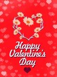lyckliga valentiner för kortdag Härlig bokstäver med symbol av hjärta Stock Illustrationer