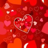 lyckliga valentiner för kortdag vektor reklambladbakgrund med hjärtor Royaltyfri Bild