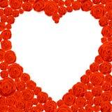 lyckliga valentiner för kortdag Vit hjärta Shape på Rose Flowers Background Arkivbilder