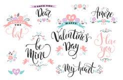 lyckliga valentiner för dag Uppsättning av hand drog inskrifter Arkivbild