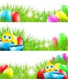 Lyckliga vektorpåskbakgrunder med fågelungen i Brok vektor illustrationer