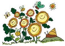 Lyckliga vektorsolrosor, bin och snigel stock illustrationer