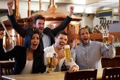 Lyckliga ventilatorer som glädjande håller ögonen på TV:N i pub Royaltyfri Bild