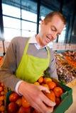 lyckligt ägarelager för livsmedelsbutik arkivbilder
