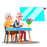 Lyckligt åldringparsammanträde i kafé och hålla ögonen på i Digital skärmvektor isolerad knapphandillustration skjuta s-startkvin royaltyfri illustrationer