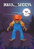 Lyckligt allhelgonaaftonbaner Jack With Pumpkin Scary Face Arkivbild