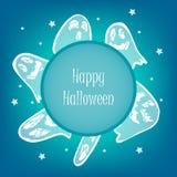 Lyckligt allhelgonaaftonkort med den läskiga spöken och stjärnor vektor illustrationer