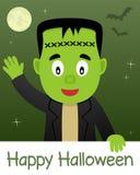 Lyckligt allhelgonaaftonkort med Frankenstein Royaltyfria Bilder